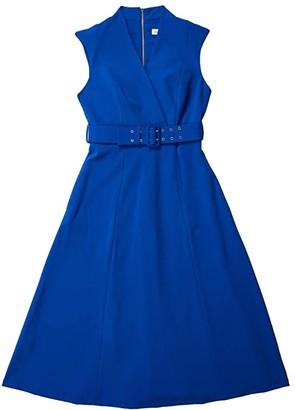 Calvin Klein Belted Surplus Neck A-Line Midi Dress (Regatta) Women's Dress