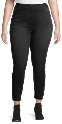 No Boundaries Juniors' Plus Size Essential Knit Pull On Jegging with Ribbed Elastic Waistband