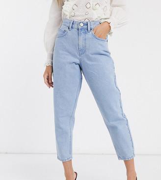 Asos DESIGN Petite Balloon leg boyfriend jeans in bright blue wash