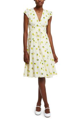 Callipygian Kitsch Print Wrap Dress