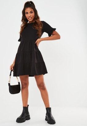 Missguided Black Frill Sleeve Tiered Smock Dress