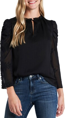 CeCe Crinkle Texture Embroidered Sleeve Top
