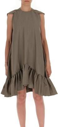 MSGM Houndstooth Print Ruffle Hem Bow Detail Dress