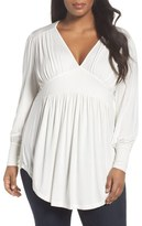 Melissa McCarthy Deep V-Neck Gathered Jersey Top (Plus Size)