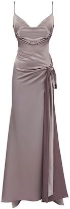 Draped Satin Long Dress W/ Bow Detail