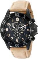 Nautica Men's NAD17507G NST19 Black Stainless Steel Watch with Beige Leather Band