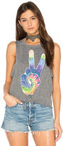 Chaser Rainbow Peace Tie Front Muscle Tee in Gray