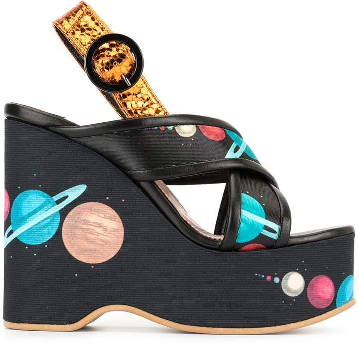 Undercover printed high wedge sandals