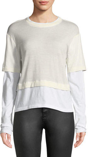 Alexander Wang Fine-Gauge Layered Cropped Top