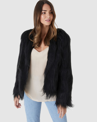 Everly Collective - Women's Black Jackets - Marmont Faux Fur Jacket - Size One Size, XS at The Iconic