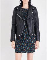 Maje Madone braided-panel leather jacket