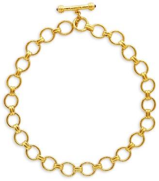 Elizabeth Locke 19K Yellow Gold, Ruby Cabochon & Blue Sapphire Rimini Link Necklace