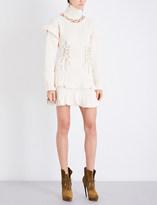 Alexander McQueen Turtleneck eyelet-detailed wool dress