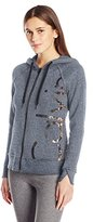 Calvin Klein Women's Molten Cut Off Logo Zip Hoodie Jacket