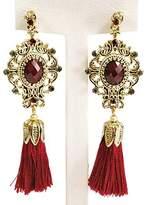Cuplé Gold Tassel Bohemian Vintage Dangle Drop Big Statement Earrings for Women, Wine