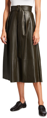 Vince Belted Leather Wrap Midi Skirt