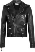 Saint Laurent Perfecto Embellished Leather Biker Jacket - Black