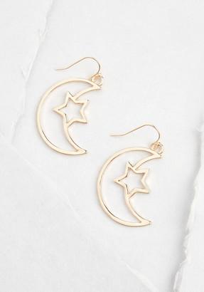 No Brand Shown Cosmic Girl Moon Earrings