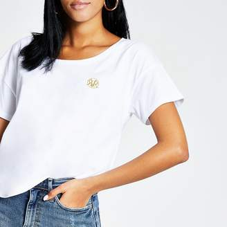 River Island White RVR scoop neck slouch fit T-shirt