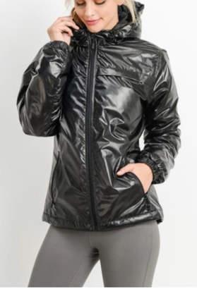 Mono B Black Glossy Rain jacket