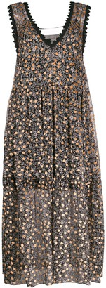 See by Chloe Flower-Print Flared Dress