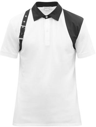 Alexander McQueen Harness Cotton-pique Polo Shirt - White