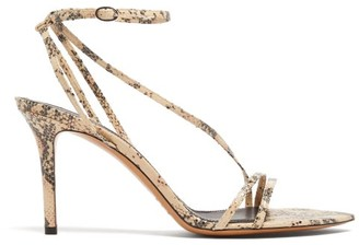 Isabel Marant Axee Python-effect Leather Sandals - Womens - Light Pink