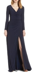 Mac Duggal Ieena for Long Sleeve Front Slit Jersey Gown