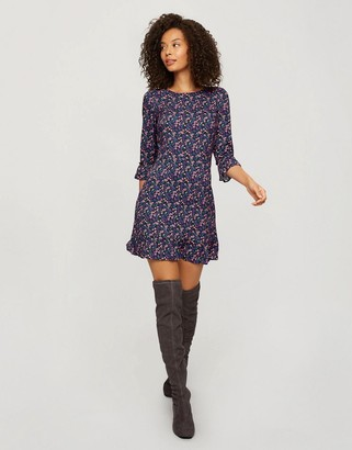 Miss Selfridge ditsy print frill hem smock dress in purple