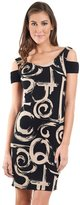Joseph Ribkoff Black & Beige Textured Abstract Swirl Dress Style 161797