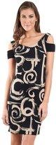 Joseph Ribkoff Black & Beige Textured Abstract Swirl Dress Style 161797
