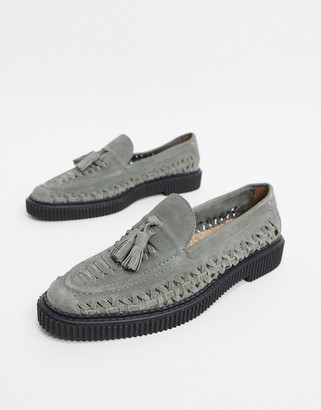 House of Hounds orion woven loafers in grey suede
