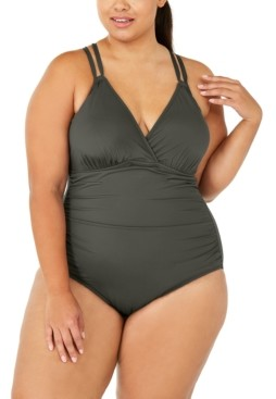 La Blanca Plus Size Island Goddess Underwire Cross-Back One-Piece Swimsuit Women's Swimsuit