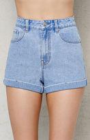 PacSun Bumble Blue Cuffed Denim Mom Shorts