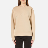 DKNY Women's Long Sleeve Pullover with Front Logo Nude