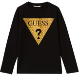 GUESS Black and Gold Holographic Branded Long Sleeve Tee