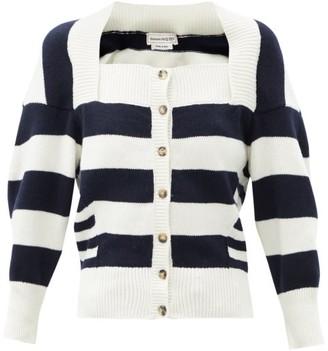 Alexander McQueen Square-neck Striped Wool-blend Cardigan - White Multi