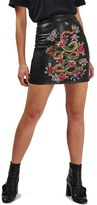 Topshop Women's Snake Embroidered Leather Miniskirt