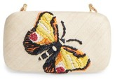 Franchi Flutter Embroidered Butterfly Box Clutch - Brown