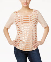 Calvin Klein Jeans Elbow-Sleeve Sequined Top