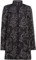 Armani Jeans Floral Print Padded Jacket in Fantasia Nero
