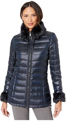 Via Spiga Soft Down with Faux Fur Detachable Collar and Cuffs (Dark Metallic Blue) Women's Clothing