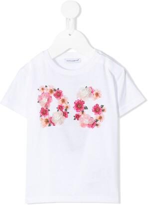 Dolce & Gabbana Kids floral logo T-shirt