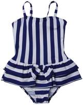 QRH Big Girls Poptical Stripes 1 Piece Swimsuit Blue Size 10-12 For Age 10-11 Years