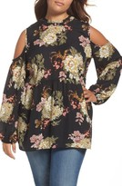 Bobeau Plus Size Women's Cold Shoulder Ruffle Neck Top