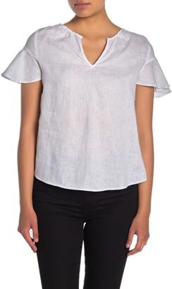 Catherine Malandrino Short Sleeve Split Neck Linen Top (Petite)