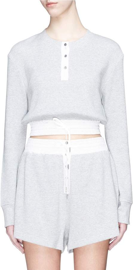 Alexander Wang Henley cropped waffle knit sweater