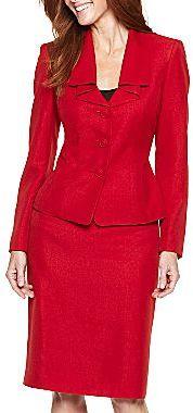 JCPenney 3-Button Ruffle Collar Skirt Suit