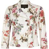 River Island Womens White floral print lace biker jacket