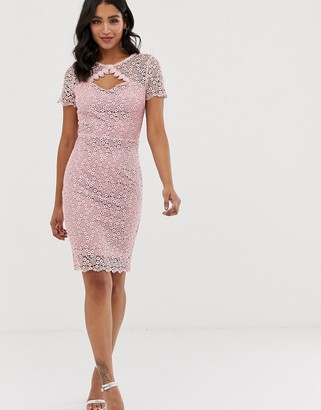 Paper Dolls short sleeve all over crochet lace with scallop hem pencil dress-Pink